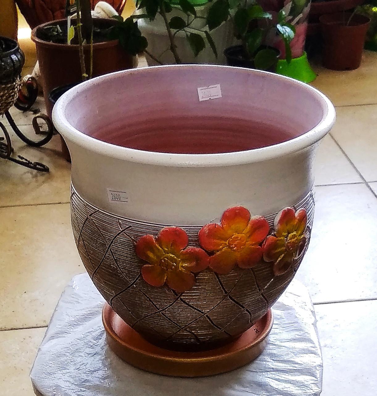 Керамический горшок для цветов. Объем: 3л.