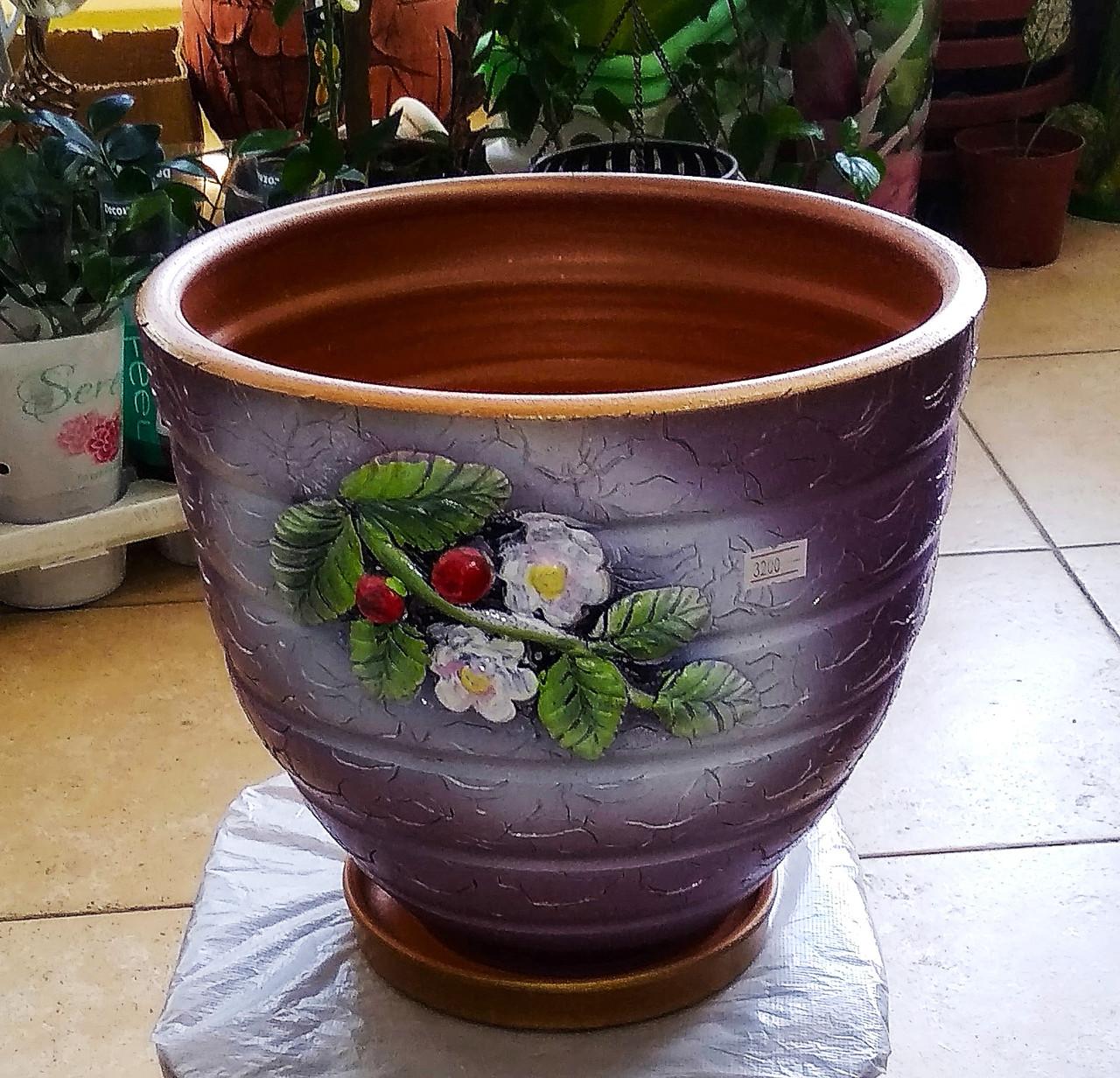 Керамический горшок для цветов. Объем: 4л.