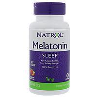 Мелатонин  1 мг, 90 таблеток, быстрорастворимый со вкусом клубники.  Natrol