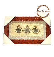 Мусульманский сувенир. Картина в деревянной раме с аятами и молитвой (38х23 см)