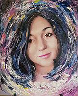 Портрет девушки в технике работы мастихином. Холст /масло.