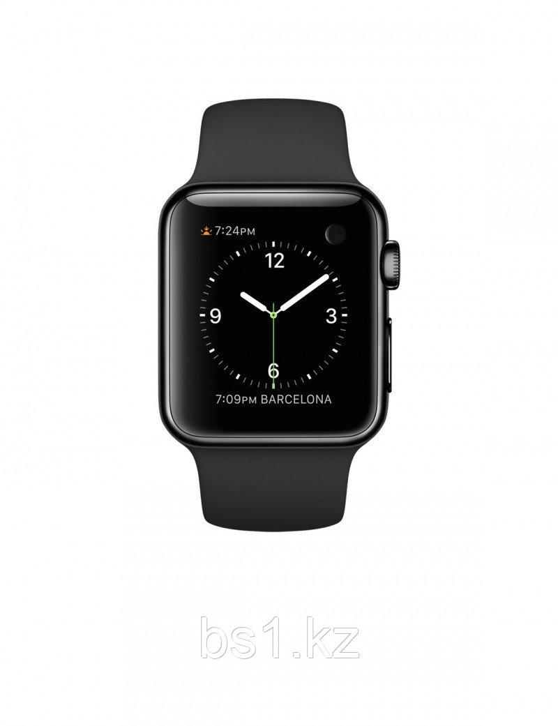 Apple Watch 38 мм, спортивный ремешок (Черный)
