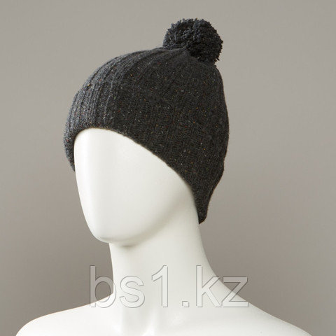 Hard Textured Cuff Knit Beanie With Pom