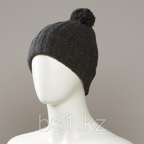 Hard Textured Cuff Knit Beanie With Pom