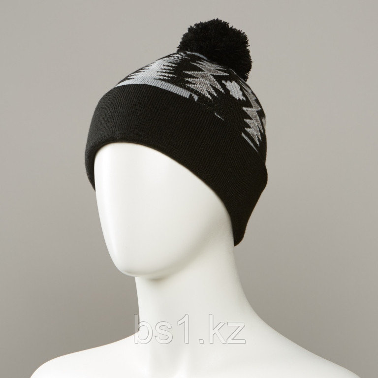 Major Jacquard Cuff Hat With Pom