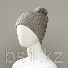 Cloudy Textured Cuff Knit Hat With Pom