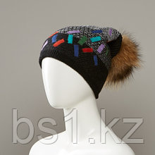 Dorian Cuffed Slouch Hat With Real Fur Pom