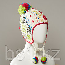 Riche Textured Cable Knit Hat With Pom And Pom Tie Cords