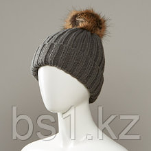 Believe Cuff Hat With Faux Fur Pom