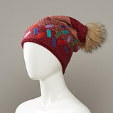 Dorian Cuffed Slouch Hat With Real Fur Pom, фото 2