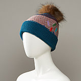 Dorian Cuffed Slouch Hat With Real Fur Pom, фото 3