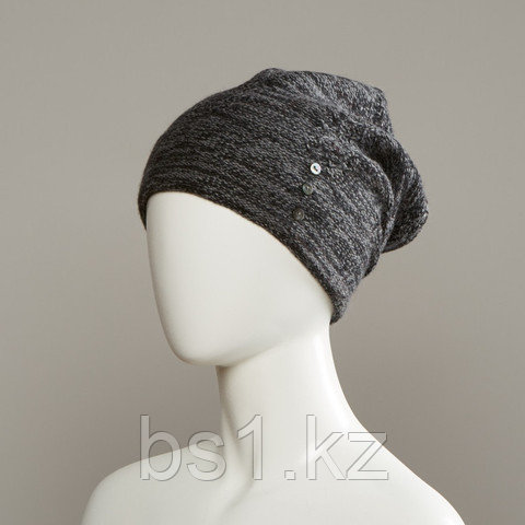 Wren Textured Slouch Beanie With Buttons