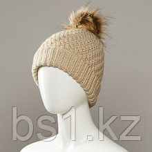 Combo Textured Knit Cuff Hat With Faux Fur Pom