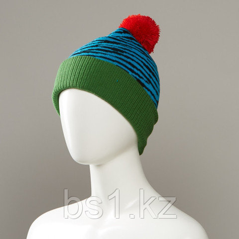 Brave Cuffed Knit Hat With Pom
