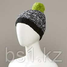 Ashen Marl Textured Knit Hat With Pom