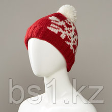 Avenue Snowflake Print Textured Cuff Knit Hat