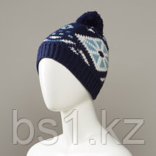 Biso Jacquard Knit Hat With Pom