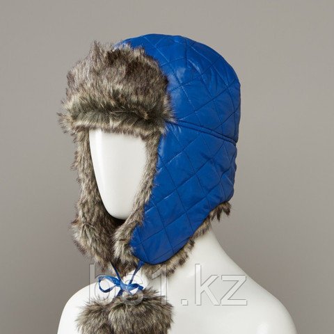 Gladys Quilted Trapper Hat With Faux Fur Lining And Pom Tie Cords