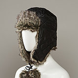Gladys Quilted Trapper Hat With Faux Fur Lining And Pom Tie Cords, фото 2