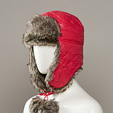 Gladys Quilted Trapper Hat With Faux Fur Lining And Pom Tie Cords, фото 3