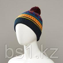 Corlsbud Jacquard Cuff Knit Hat With Pom