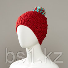 Dunes Textured Knit Hat With Multi-Colour Pom