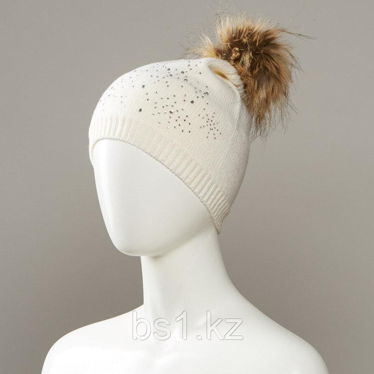 Jiae Bejeweled Knit Pom Hat