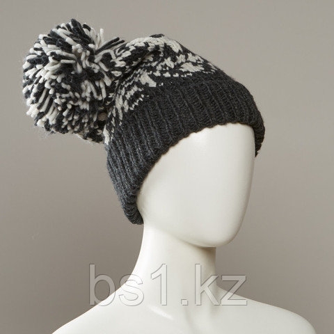 Stamp Cuff Slouch Jacquard Hat With Large Pom