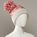 Stamp Cuff Slouch Jacquard Hat With Large Pom, фото 2