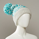 Stamp Cuff Slouch Jacquard Hat With Large Pom, фото 3