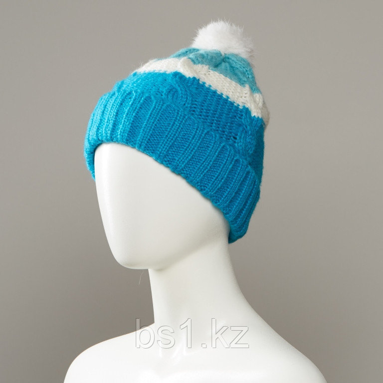 Boho Texture Knit Hat With Large Pom