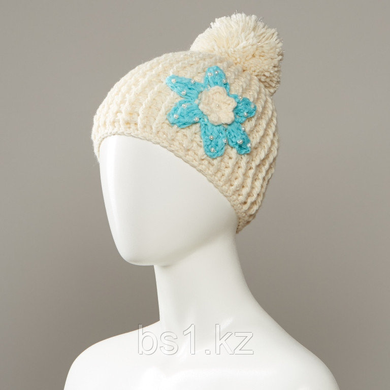 Cornsilk Textured Flower Knit Hat With Large Pom
