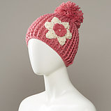 Cornsilk Textured Flower Knit Hat With Large Pom, фото 3