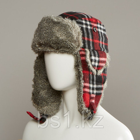 Muscle Plaid Trapper Hat With Faux Fur Lining
