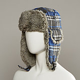 Muscle Plaid Trapper Hat With Faux Fur Lining, фото 2