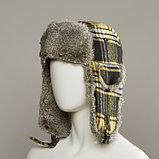 Muscle Plaid Trapper Hat With Faux Fur Lining, фото 3