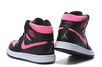 """Кожаные кроссовки Air Jordan 1 Retro """"Black/Pink"""" (36-40), фото 7"""