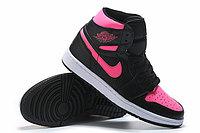 """Кожаные кроссовки Air Jordan 1 Retro """"Black/Pink"""" (36-40), фото 4"""