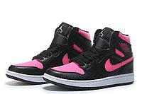 """Кожаные кроссовки Air Jordan 1 Retro """"Black/Pink"""" (36-40)"""