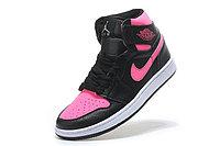 """Кожаные кроссовки Air Jordan 1 Retro """"Black/Pink"""" (36-40), фото 6"""