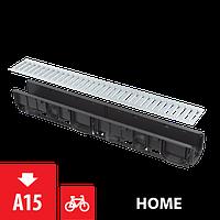 Дренажный канал 100 мм без рамки с оцинкованной решеткой Т-образного профиля ALCAPLAST AVZ101-R101