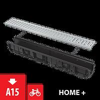 2 Дренажный канал 100 мм, с интегрированной пластиковой рамой и оцинкованной решеткой  ALCAPLAST AVZ102-R102