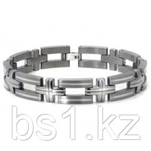 Titanium Silver Inlay Men's Bracelet w/ Cross Designs