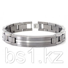 Titanium Silver Inlay Men's ID Bracelet