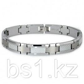 Tungsten Carbide White Carbon Fiber Inlay Men's Bracelet