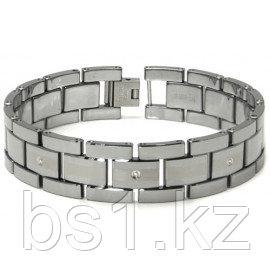Tungsten Carbide Diamond Men's Bracelet w/ Matte Center