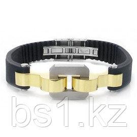 Stainless Steel Rubber Gold Plated Link Men's Bracelet