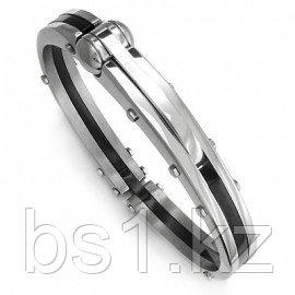 Stainless Steel Black Men's Mechanic Cuff Bracelet