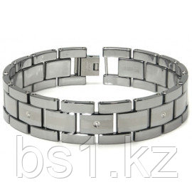 Tungsten Carbide Diamond Men's Bracelet w/ Matte Center