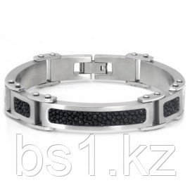 Stainless Steel Black Stingray Leather Inlay Men's Bracelet